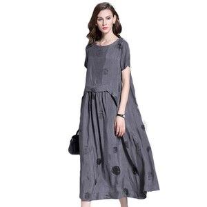 Женское винтажное длинное платье с коротким рукавом, серое и Черное длинное платье в горошек, 2019