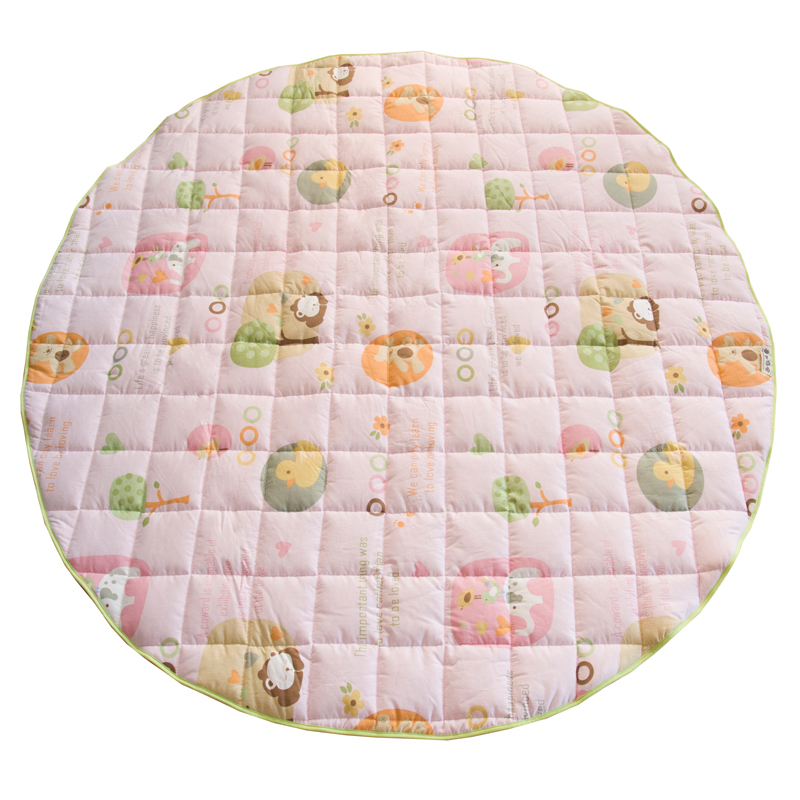 Infant Shining Diameter 140CM Round Baby Play Mats 1.5CM Thickening Cartoon Carpet 100% Cotton Blanket Machine Washable Rugs infant shining rectangle baby play mats four seasons cotton carpet cartoon children bedroom blanket living room rugs