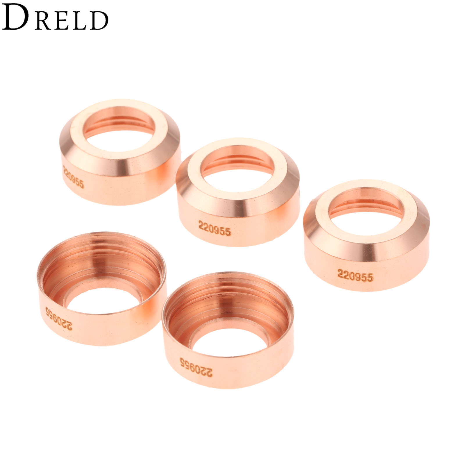 DRELD 5Pcs 45A-100A Plasma Shield 220955 Fit For 65/85 Plasma Cutting Torch Consumables Welding Soldering Supplies Replacement