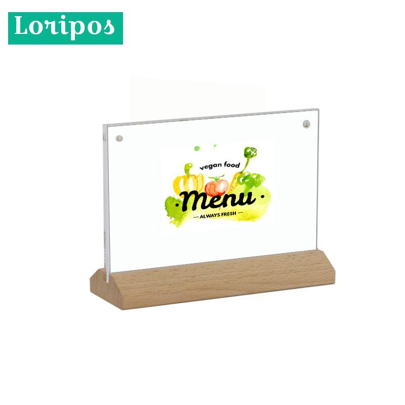 A4/ A5 Wooden Paper Clip Plate Stand Restaurant Menu Display Table Desk Top Sign Price List Paper Sheet Poster Snap Photo Clip Desk Accessories & Organizer