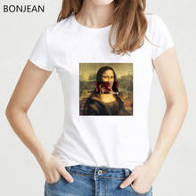 Smoking Mona Lisa T Shirt Women Funny aesthetic clothes tshirt femme Hip Hop Casual female t-shirt Streetwear tumblr tops tee