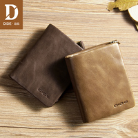DIDE 2019 Large capacity Genuine Leather Soft vintage men wallets Small Zipper Coin Purse Short Wallet credit card holder gift