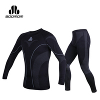 SOOMOM Mens Sport Thermal Underwear Sets Warm Compression Quick dry Ski Hiking Cycling Base Layers Fleece Pants Bicycle Clothing