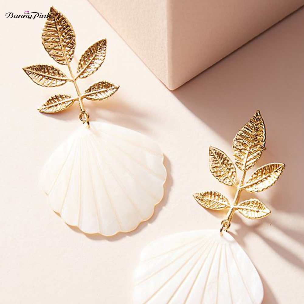 Banny Pink Bohemia Natural Shell Earrings For Women Beach Statement Stud Earring Metal Leaf Post Earrings Big Pendant Earrings