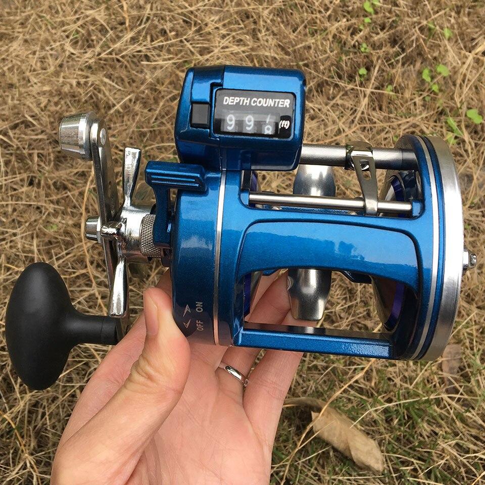 YUMOSHI 12 roulements à billes en métal bobine de pêche bobine mer moulinets de pêche à la traîne avec ligne compteur alarme matériel de pêche Pesca