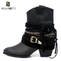 Prova Perfetto Genuine Leather Soft Sole Winter Boots Women Buckle Bling Design Elegant Ankle Boot Fringe Thick Heels Shoes
