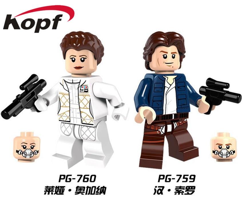 Single Sale Star Wars Leia Han Solo Luke Skywalker Mini Doll Bricks Collection Building Blocks Children Gift Toys PG759 PG760