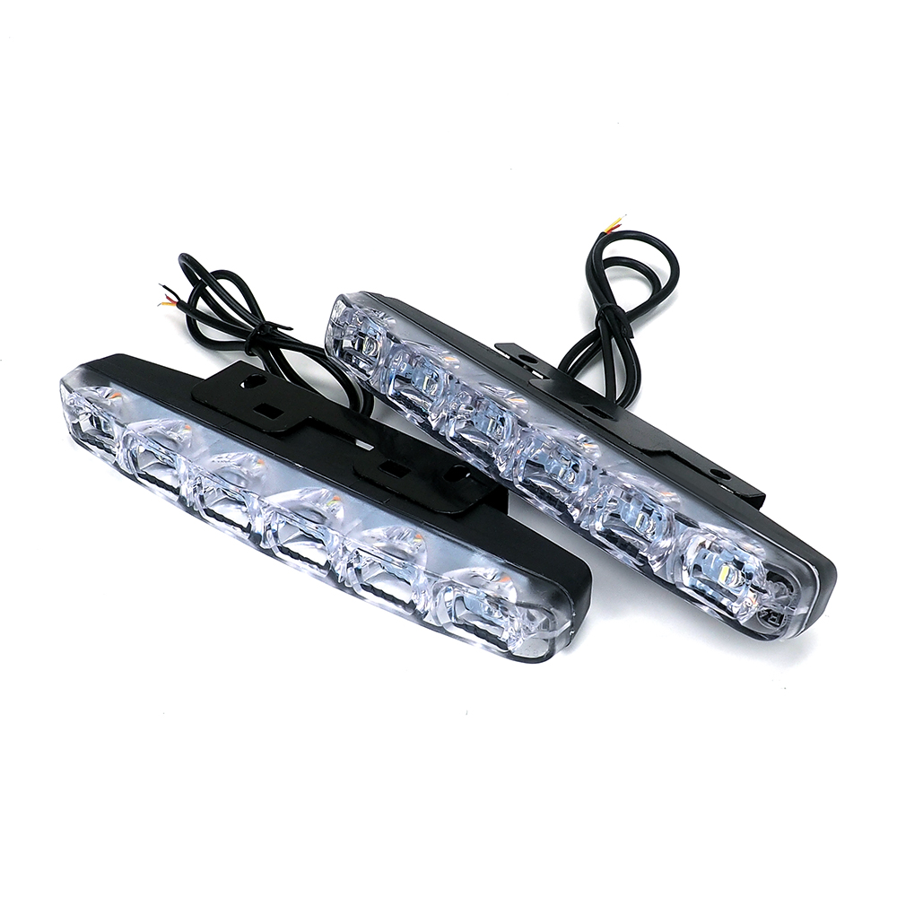 2Pcs 6 LEDs Car Daytime Running Lights Car-styling DRL Car Daytime Lamp Auto Fog Light Super Bright Waterproof DC 12V for cars 2pcs car cob leds daytime running bright light drl waterproof fog lamp u shape
