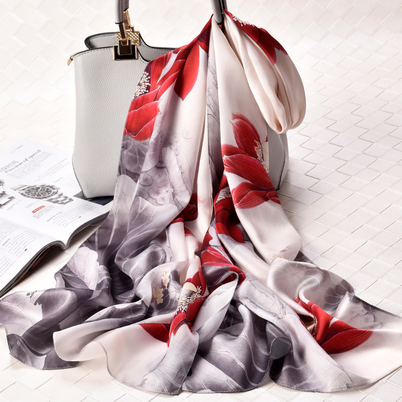 Women 100% Pure Silk Scarf Shawls and Wraps Print Natural Silk Long Scarves Headscarf Neckerchief For Ladies Foulard Femme