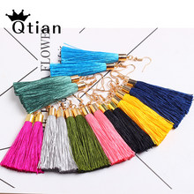 Qtian Bohemian Tassel Drop Earrings for Women Female Fashion 15 Colors Ethnic Long Red Black Fringe Dangle Earring 2019 Jewelry(China)