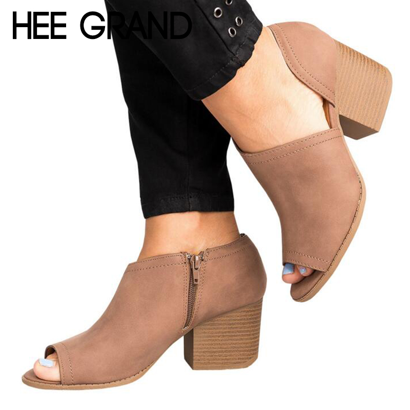 HEE GRAND 2018 New Arrive Large Size Europe States Fish Mouth Shoes Medium Height Heel Women's Shoes with Zipper WXG530 hee grand blue solid medium medium wash casual classical denim men slim male jeans mkn953