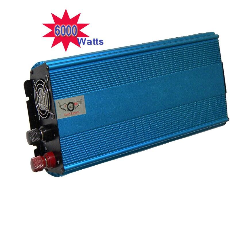 Onduleur de voiture haute puissance 6000W DC 12V à AC 220V onduleurs de puissance chargeur batterie avec onde sinusoïdale modifiée pour bateau de caméra d'ordinateur