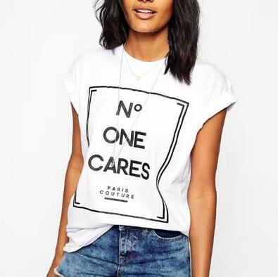 Mulheres letras bonito impressão T shirt camisas femininas Europeu básico manga curta Camisas O pescoço tops casual plus size DT17