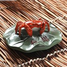 Porcelain fine ceramics heterochrosis purple crab stone ruffle hem lucky tea pet decoration