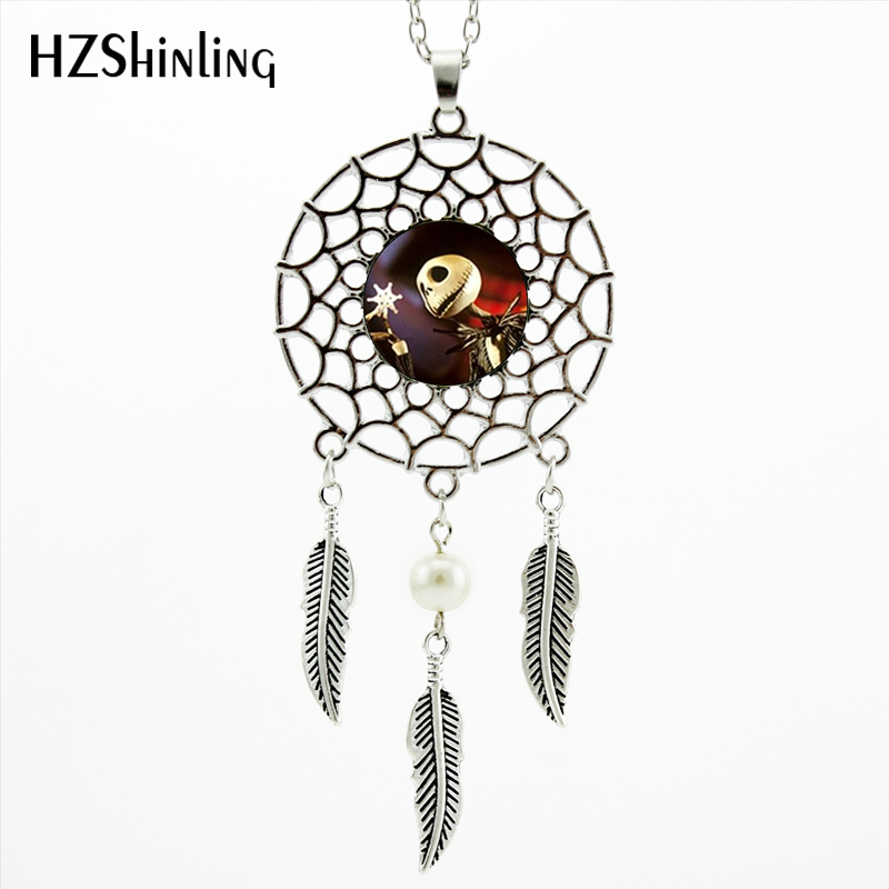 2017 Trendy Style Jack Skellington Necklace Nightmare Before Xmas Jewelry Silver Dreamcatcher Necklace NDC-0023