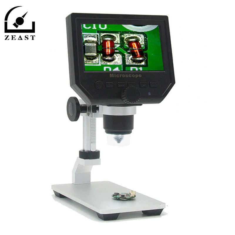 Digital 1-600X 3.6MP 4.3inch HD LCD Display Microscope Continuous Magnifier Video With Aluminum Alloy Stent Stand Upgrade Versi 600x digital microscope mobile phone maintenance microscope electronic microscope video microscope magnifier with al alloy stent