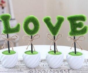 LOVE 4pcs/lot Artificial Flower Miniascape Ceramic Bonsai Pot Home Decoration Valentine's Day Gift