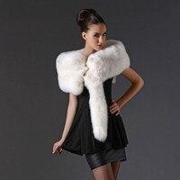 Меховые шарфы Лисий воротник цельный Белый Лисий мех лисий мех шарф шаль шарфы Зимние теплые фабричные прямые