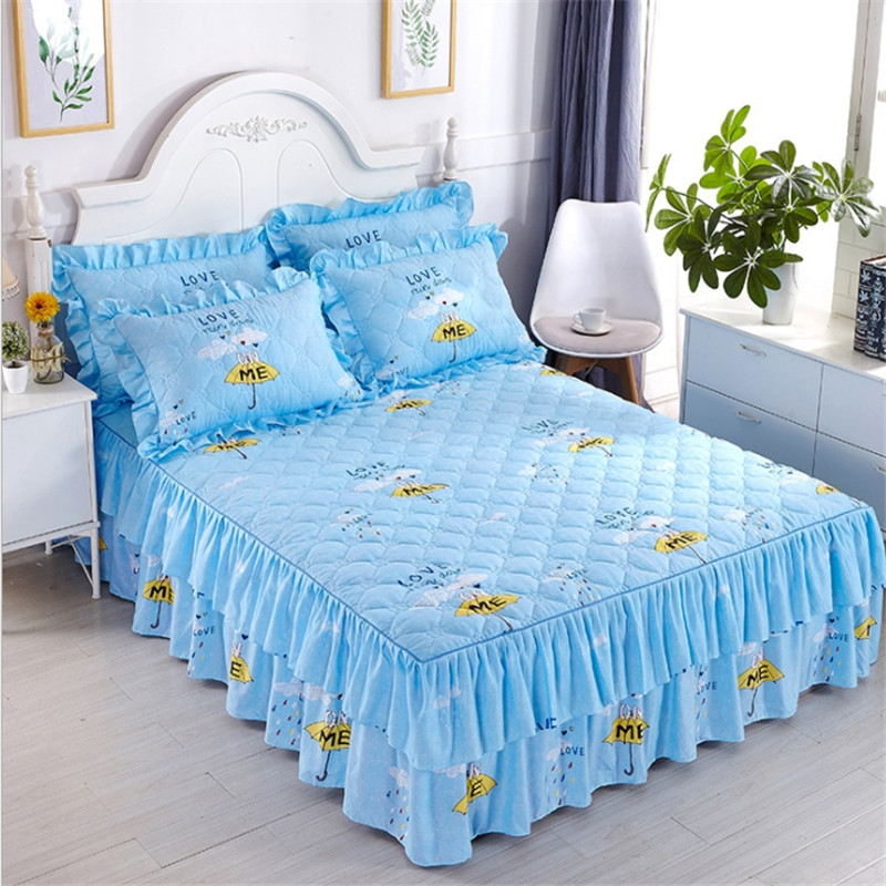 Bed skirt Cotton Pastoral Style Purple flower Bedding Bed Skirt Bed Cover Bedspread Pastoral flower Lace Bed Sheet