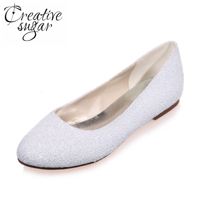Creativesugar Special touching 3D glitter closed toe flats white woman  Casual wedding bridal party prom comfortable shoes slipon 9d2e85a58254