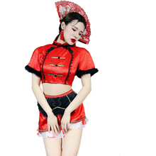 2PCS/SET Red Chinese Dance Costume Sexy Perspective Night Club DS Costume Bar Women Singer Team Jazz Dance wear DJ Stage Outfit club dance 2 cd