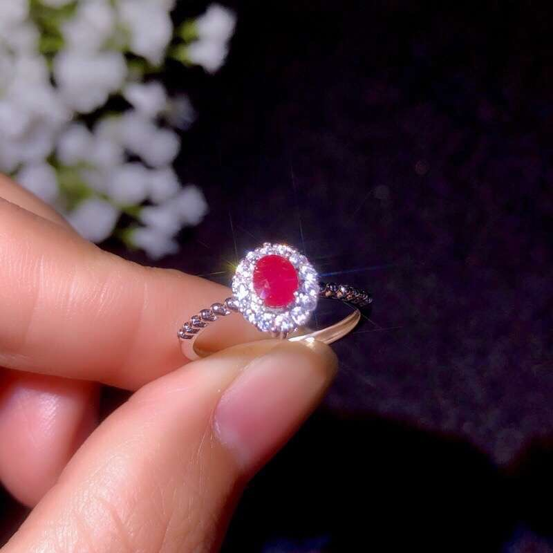 Classic Ring, Natural Ruby Ring, 925 Sterling Silver, Simple And Delicate, Lady's Ring