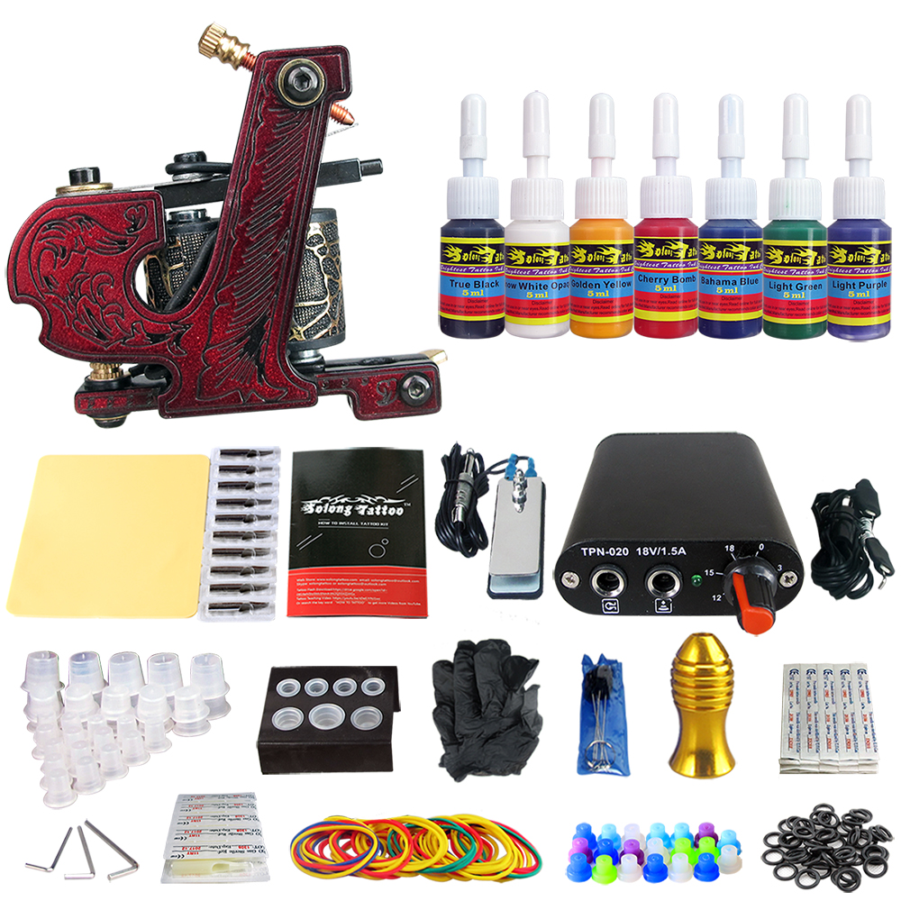 Tattoo New Beginner 1 Pro Machine Gun Tattoo Kit Power Supply Needle Grips tip 7 color ink set TK105-61 new tattoo machines gun equipment power supply 20 color ink cup tattoo set brand new