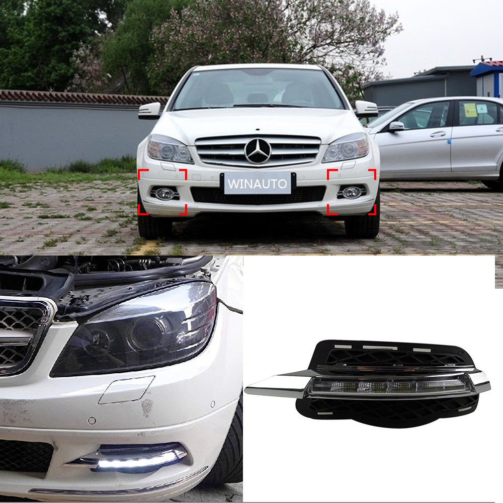 Car DRL kit For Mercedes-Benz W204  C200 C260 2008 2009 2010 LED Daytime Running Lights bar daylight auto fog lamp for car drl mercedes actros 1844 2009