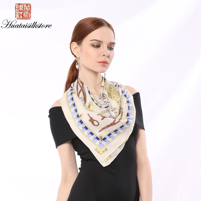 2018 New Summer Fashion Women Pure Silk Scarf Luxury Brand High Quality Steamship Print Elegant All-Match Square Pashmina