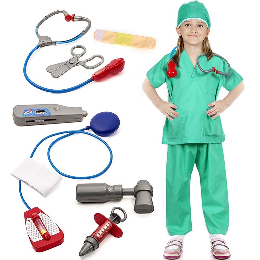 Doctor Surgeon Costume Kids Hospital Role Play Fancy Dress Accessories Set for Toddlers Boys Girls 10 Pieces