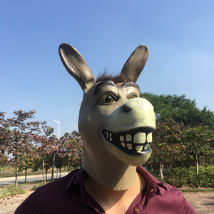 Image 4 - Shrek The Third Funny Donkey Mask Animal Latex Full Face Adult Cosplay Costume Mr Silly Donkey Masks Prop Halloween Party Men