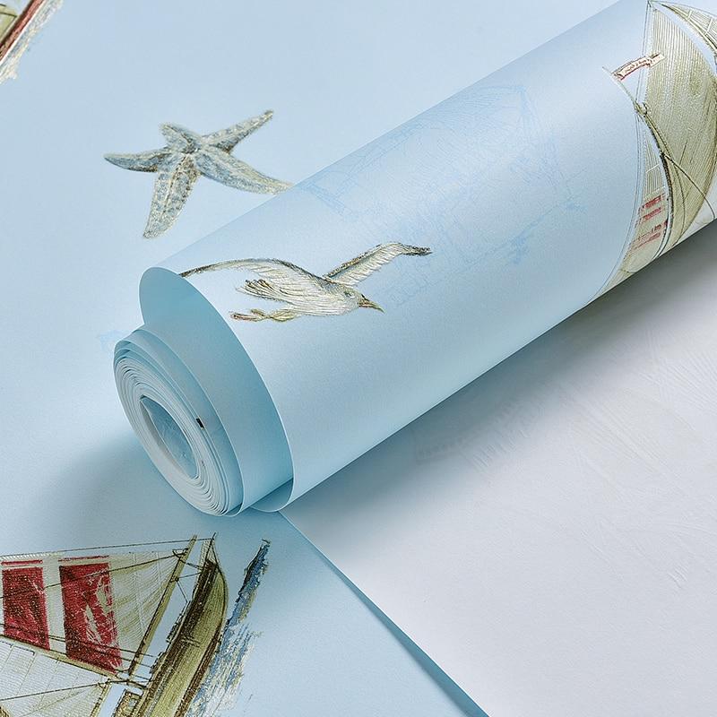 Купить с кэшбэком Mediterranean Style Wallpaper Environmental Health Non - woven Cartoon Sailing Children Room Boy Girl Bedroom Wall Paper