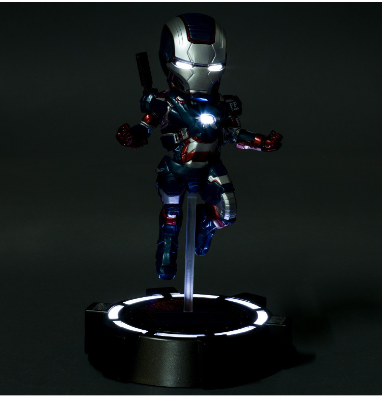 Iron Man 3 The Iron Patriot Defender 18 CM LED Flash Light Eyes Plat PVC Action Figures Collection Model Toys Dolls the flash man aciton figure toys flash man action figures collectible pvc model toy gift for children