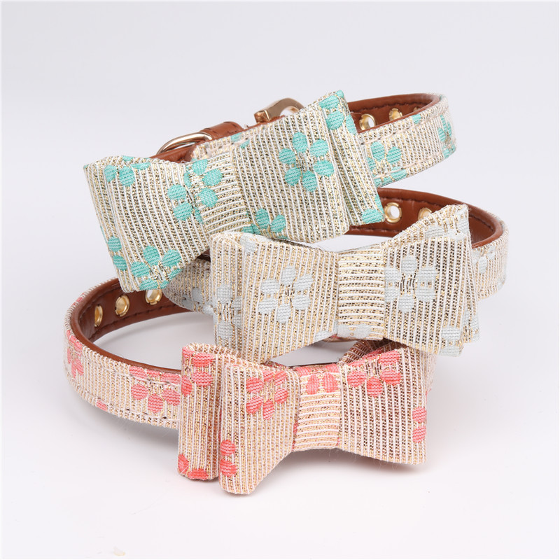 Hot Sales Soft PU Leather Fashion Dog Collar Stylish Cat Solid Stylish Collars with Bowknot Sakura Pattern for Small Pet Dog