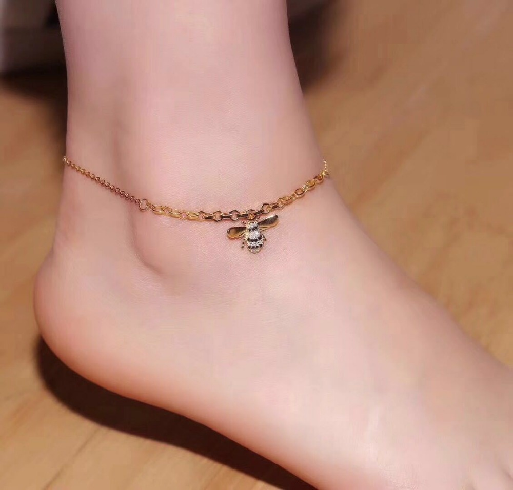 925 Sterling Silver Cute Bee Anklets For Women Famous Pure Silver Chain Ankle Bracelet Leg Bracelet New Foot Brand Jewelry