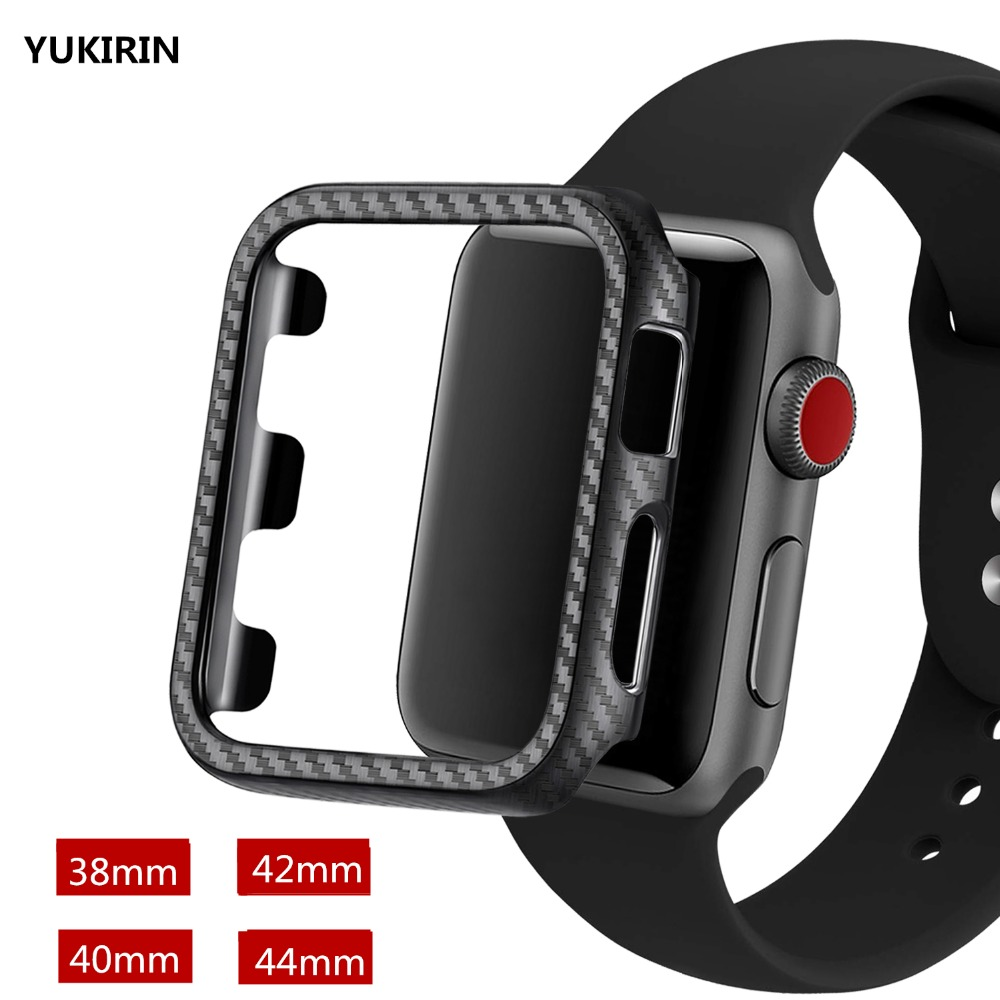 YUKIRIN Ultra Thin Carbon Fiber Lines PC Case Protective Frame For Apple Watch Series 4 3 2 1 iWatch 38 42MM 40 44MM Band Case стоимость