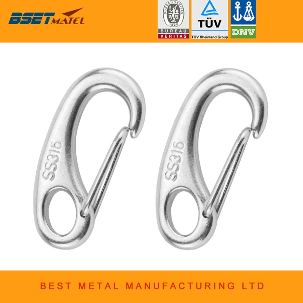 2PCS Boat Marine Stainless Steel Egg Shape Spring Snap Hook clips Quick Link Carabiner Buckle eye shackle Lobster Claw outdoor stainless steel survival folding grappling hook multifunctional outdoor climbing claw outdoor carabiner gravity hook