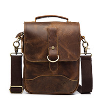 8' Crazy Horse Genuine Leather Handbag Men's Crossbody Shoulder Bag Men Messenger Bags Male Handle Casual Pack For Ipad