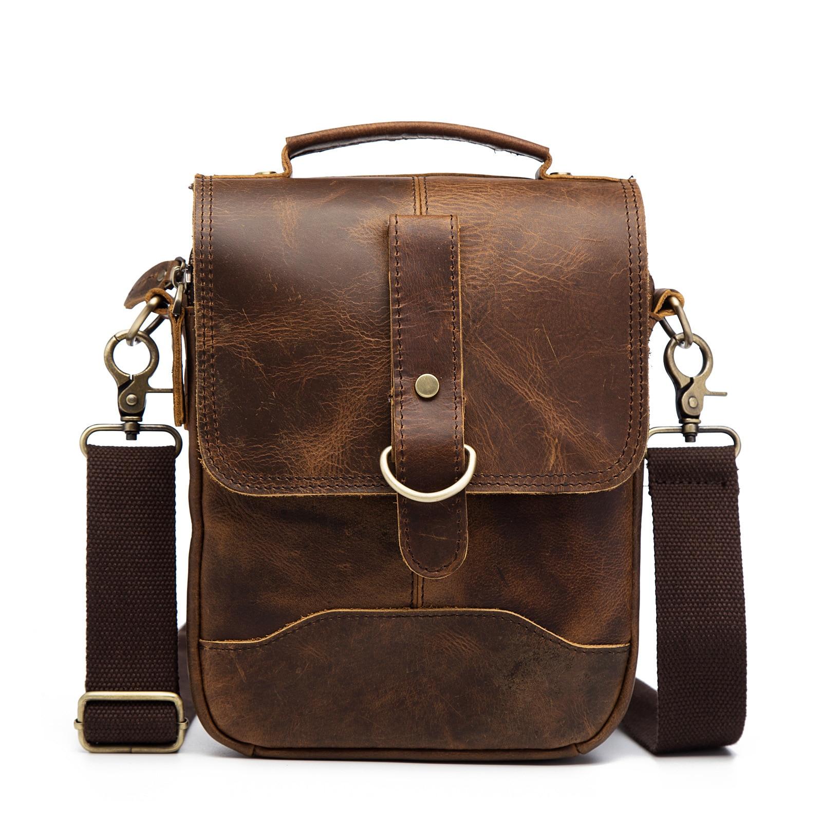 8' Crazy Horse sac à main en cuir véritable sac à bandoulière pour hommes sac à bandoulière pour hommes sacs Messenger poignée mâle sac décontracté pour Ipad