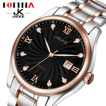 FOTINA Top Brand JK Watch Men Day Date Waterproof Business Watch Women Gold Stainless Steel Quartz
