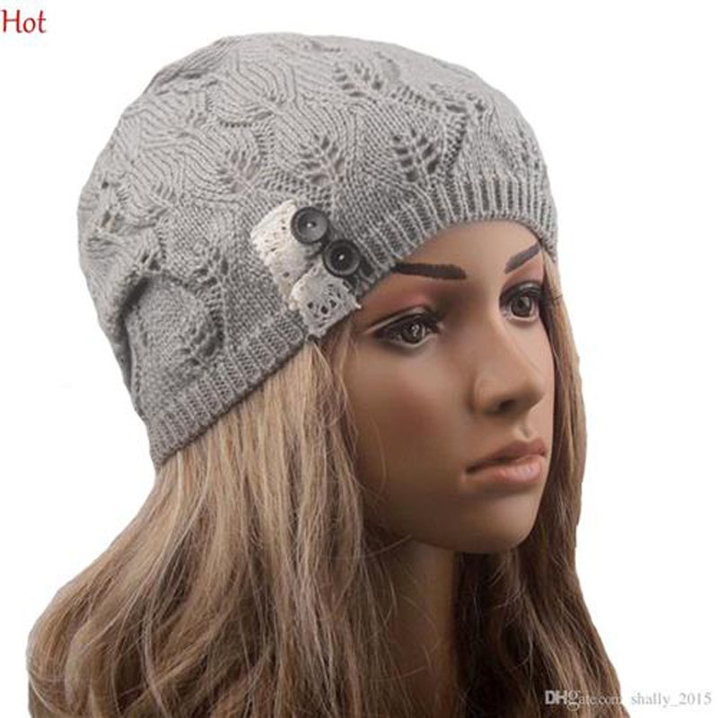 b12c6ac172d688 Modern Lace Beanies Hollow Out Knitting Hat Fashion Accessories Button  Leaves Winter Hats For Women Colors Skull Caps SV028442