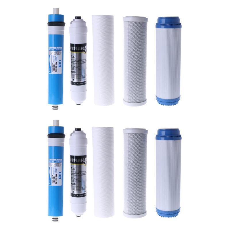 10 Inch Five-stage Reverse Osmosis Filter Set Water Purifier Element Cartridge 50 Gallon 5pcs/set