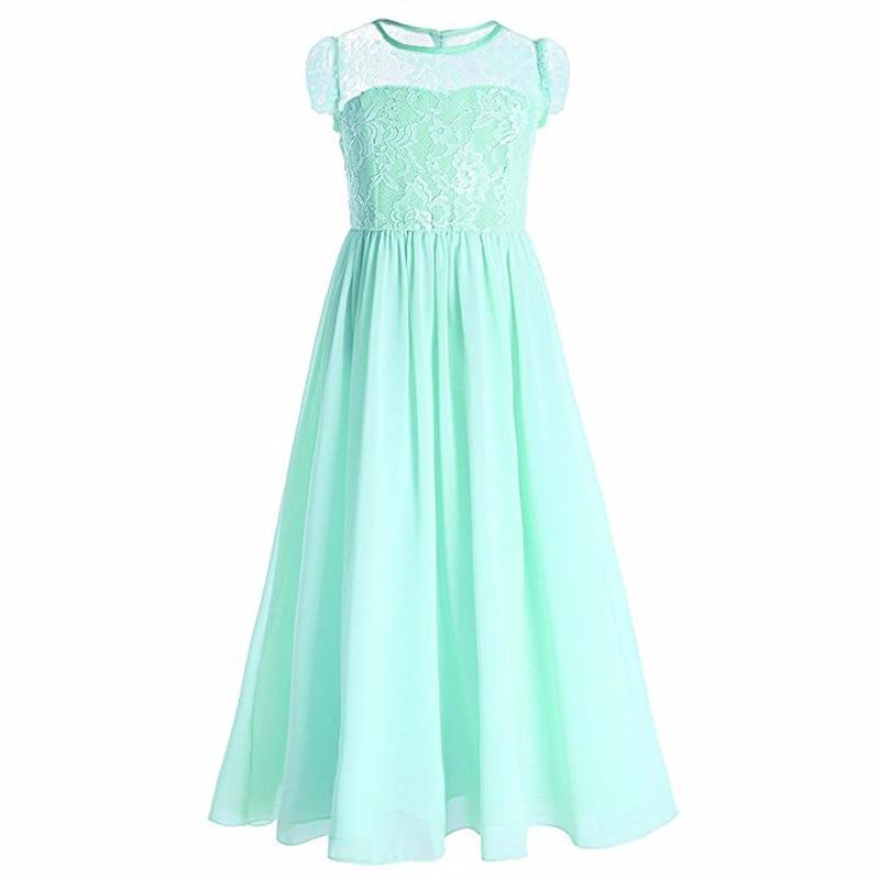 Retail kant chiffon holle elegante enkellange bloem meisjes korte mouwen meisjes avondfeest lange jurk lace005