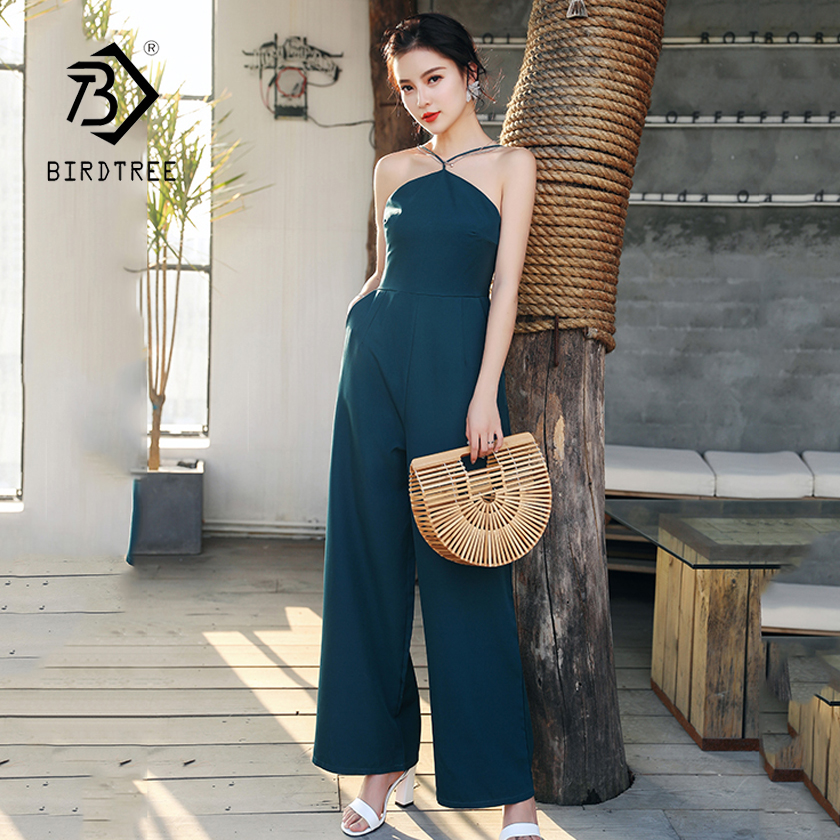 Womens Summer Solid Halter High Waist No Shoulder Jumpsuits 2018 New Arrival Elegant Loo ...