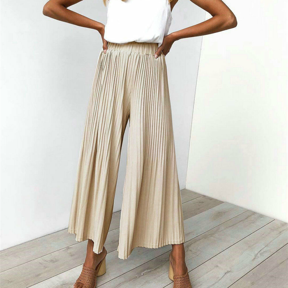 Women Elastic Pleated Palazzo High Waist Career   Wide     Leg     Pants   Ladies Beach Loose Pleated Casual Straight Trousers