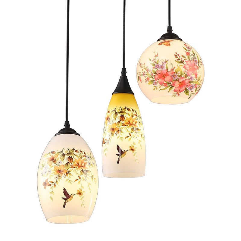 Modern Glass Case Pendant Light Chinese Style Printing Restaurant Pendant Lamps Bar Counter Pendant Lighting Fixtures