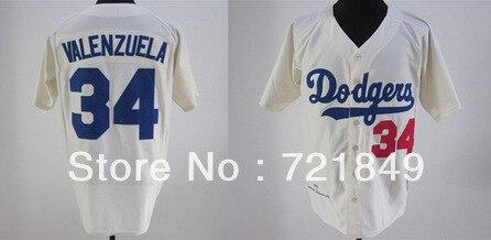 b16e26f49 Men s Cooperstown jersey Brooklyn Dodgers  34 Valenzuela Cream white  throwback MN 1981 baseball jerseys wholesale