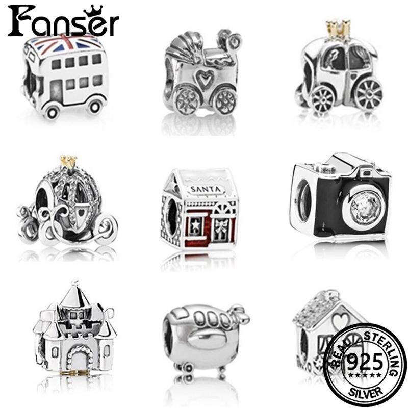 FANSER Retro DIY Car Bead Accessories Pandor Geniune S925 Pure Silver Original Copy Colourful & Suitable Women bracelet