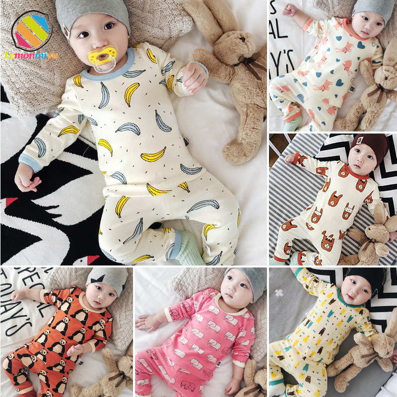 Lemonmiyu Baby Cotton Pajama Sets 2pcs/set 0-24M T shirt + Pants Kids Sleepwear Full Sleeve Newborn Boy Girl Sets Casual Infant newborn cotton cartoon baby boy girl clothing set infant elephant words printed t shirt tops pants shortsleeve kids clothesst230