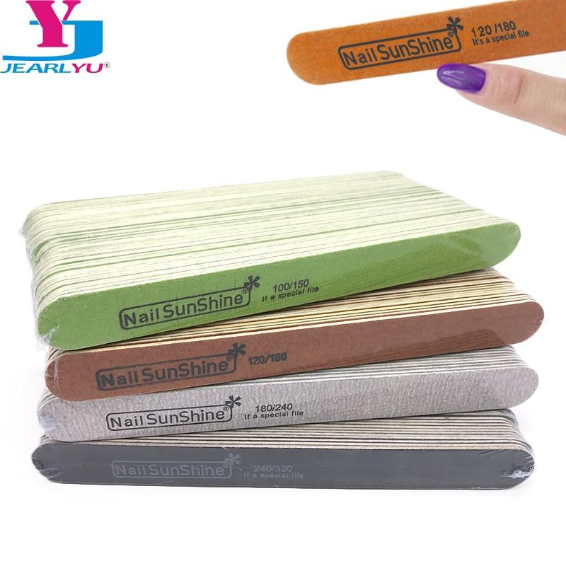 50 Pcs High Quality Wooden Nail File 100/150 120/180 180/240 240/320 Nail Sunshine Emery Board UV Gel Polish Nail Files Manicure